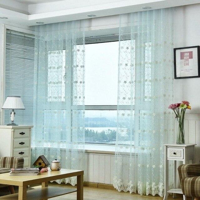 Venta caliente Sheer Tulle ventana flores bordadas para sala ...