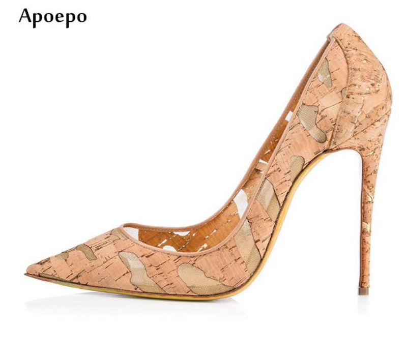 Apoepo Newest Thin Heels Woman Shoes Pointed Toe Wood Pattern Stiletto Heels 2018 Sexy High Heel Shoes Slip-on Pump Heels top quality woman shoes fashioned in the concise design and unique pattern fringe decoration stiletto high heels light blue heel