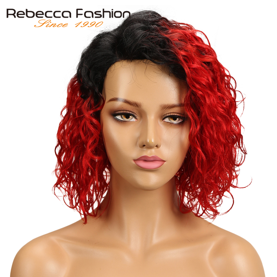 Rebecca L Part Water Wave Human Hair Lace Wigs For Black Women Peruvian Remy Hair Natural