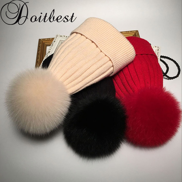 428f6ef0929 100%Natural women Raccoon Real FOX Fur pompom fur hat Parent-child Beanies  winter hats for adults wool hat beanie women lady