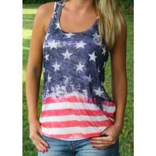 847ed636da67e5 2019 NEW Sexy Summer Style Sleeveless Tops American USA Flag Print Stripes  Tank Top for Women