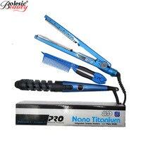 3 IN 1 Hair Plaque en titane Straightener Flat Iron Curling Irons Curlers Bigoudis Rulos Nano Titanium Plate Hair Styling Tools
