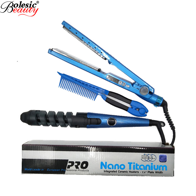 3 IN 1 Hair Plaque En Titane Straightener Flat Iron Curling Irons Curlers Bigoudis Rulos Nano Titanium Plate Hair Styling Tools