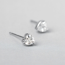 Funmor Basic Heart AAA Zircon 925 Sterling Silver Earrings Brincos Women Girls Daily Holiday Stud Ear Jewelry Accessories Gifts