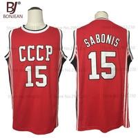 BONJEAN New Cheap Throwback Basketball Jersey Arvydas Sabonis 15 CCCP Team Russia Jerseys Red Retro Stitched