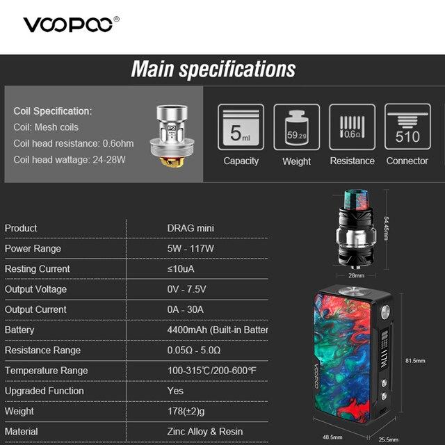 , VOOPOO DRAG MINI Kit 117W Resin Vape Box Mod With Uforce T2 Tank P2 Coil 4400mah Built-in Battery Gene Fit Chip VS Drag 157W