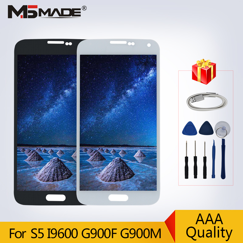 S5 Original Super AMOLED For Samsung Galaxy S5 I9600 G900 <font><b>G900F</b></font> G900M <font><b>SM</b></font>-<font><b>G900F</b></font> LCD Touch Screen Digitizer <font><b>Display</b></font> Assembly Parts image
