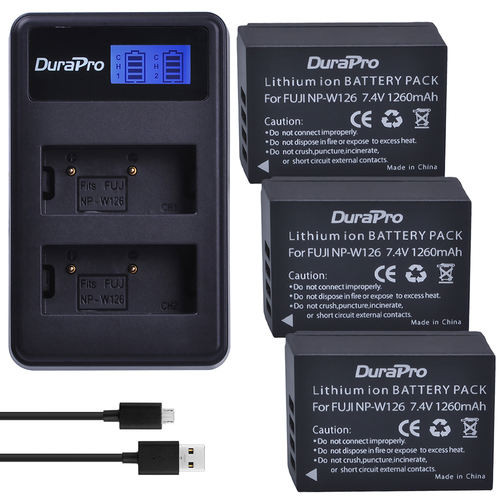 3 pc NP-W126 NP W126 NPW126 Li-ion Batterie + LCD USB Double Chargeur Pour Fuji HS50 HS35 HS33 HS30EXR XA1 XE1 X-Pro1 XM1 X-T10 Caméra