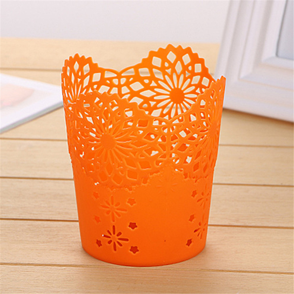 Image 4 - Openwork Pattern Pen Holder Creative Storage Bucket Small  Can Storage Basket-in Storage Baskets from Home & Garden