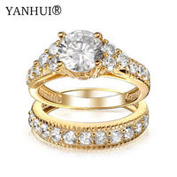 YANHUI Brand Luxury Real Solid Gold Filled Lovers Double Ring Fashion Jewelry 2ct CZ Diamant Engagement Rings For Women YR118