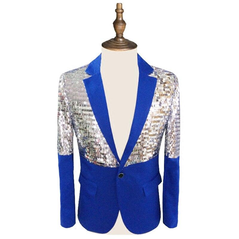 New Fashion Sparkly Sequins Men White Suit Jacket Bar Male