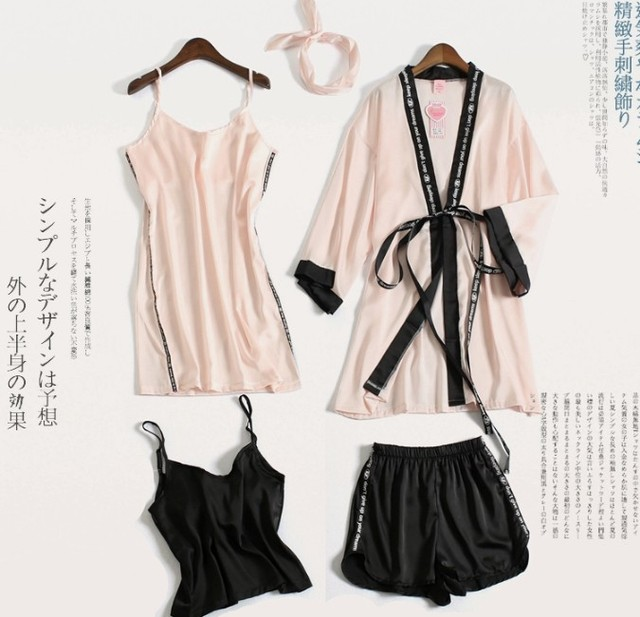 fb7115272b 2018 New Spring Summer Women s Pajamas Night Robes Ladies Ice Silk Sexy  Suspenders Shorts Five Pieces Sleepwear Home Clothes
