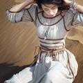 MX028 Spring 2016 original design vintage handmade decoration cotton and linen long maxi bohemian retro dress women