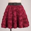 Пушистый 3D мерной цветок юбки Девушка Pettiskirts длинные тюль Юбки Партии Женщин Юбка рокабилли нижняя юбка