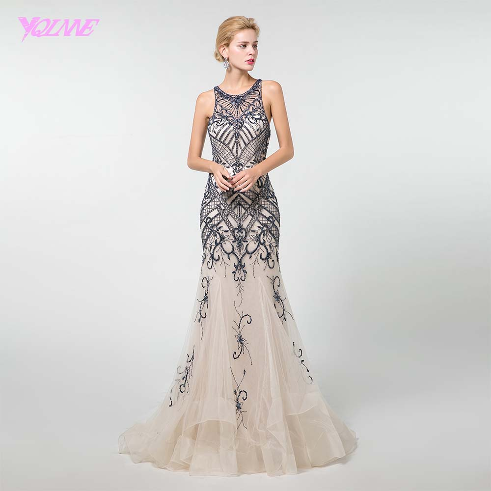 YQLNNE New Mermaid   Evening     Dress   2019 Pageant   Dress   Crystals Beaded Formal Gown Sleeveless