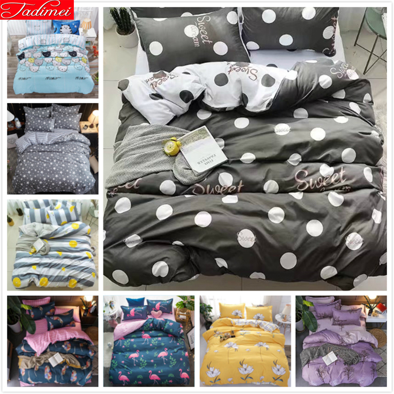 Grey White AB Side Duvet Cover Fitted Sheet Bedspread Pillowcase 4pcs Bedding Sets Kids Cotton Bed Linens Single Full Queen Size|Duvet Cover| |  - title=
