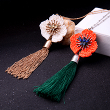 JShine White/Red Resin Flower Pendant Necklace Collar New Antique Silver & Gold Color Alloy Tassel Long Necklaces for Women