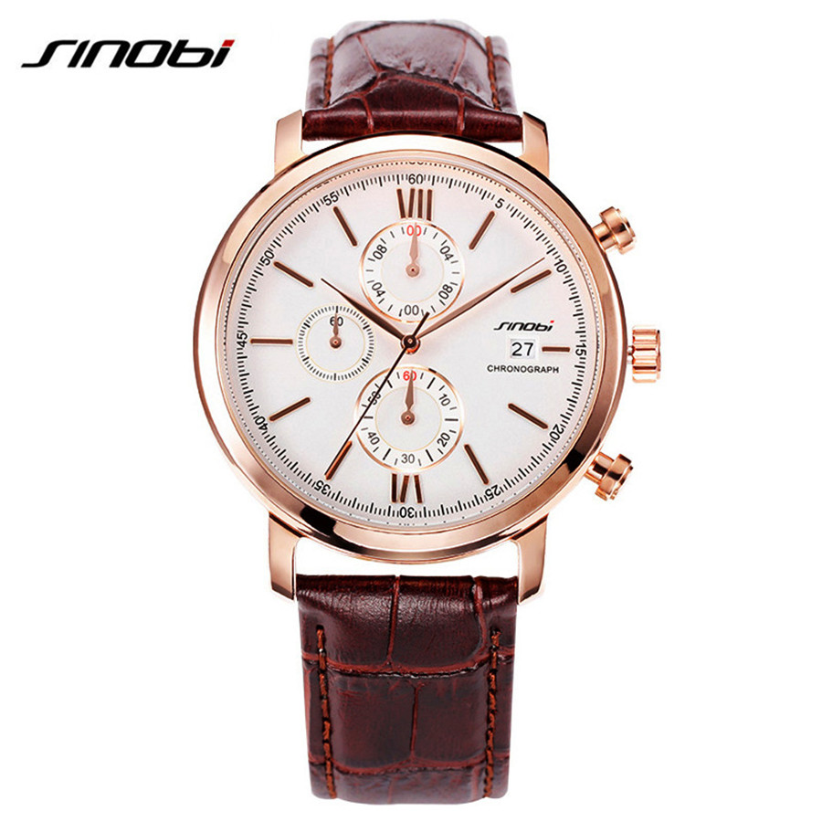 New SINOBI Brand Men Leather Quartz Watch Male Causal Fashion Quality Sport Wristwatches Luxury Waterproof Clock Watches relojes new listing yazole men watch luxury brand watches quartz clock fashion leather belts watch cheap sports wristwatch relogio male