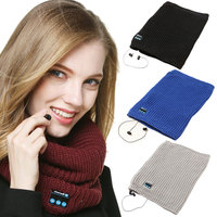 Wireless Bluetooth Headset Winter Mens Womens Music Knitted Scarf Headphone Speaker Mic Smart Scarf for Mobile Phones iPad