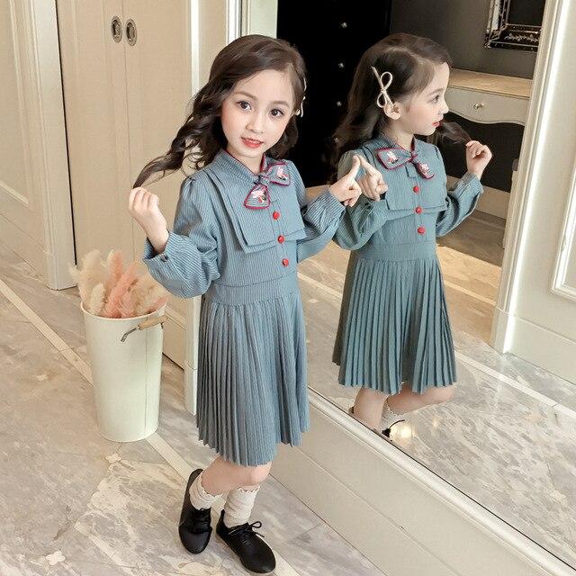 Осень-весна Модные Полосатые pleat Вышивка Красный трубы платье для маленьких девочек винтажное детское платье детская брендовая одежда от 2 до 8 лет