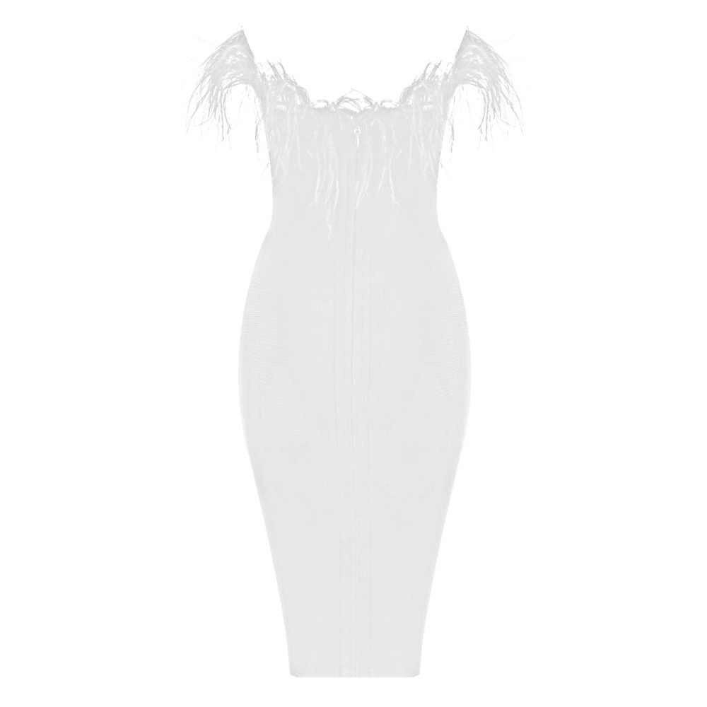 2019 nuevo negro y blanco palabra hombro pluma mini elegante moda vendaje vestido Sexy noche fiesta Bodycon al por mayor mujeres