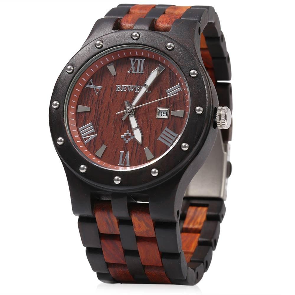 Bewell Luxury Brand Waterproof Wood Watch Men Quartz Watches Wooden Band Calendar Analog Male Elegant Wristwatches