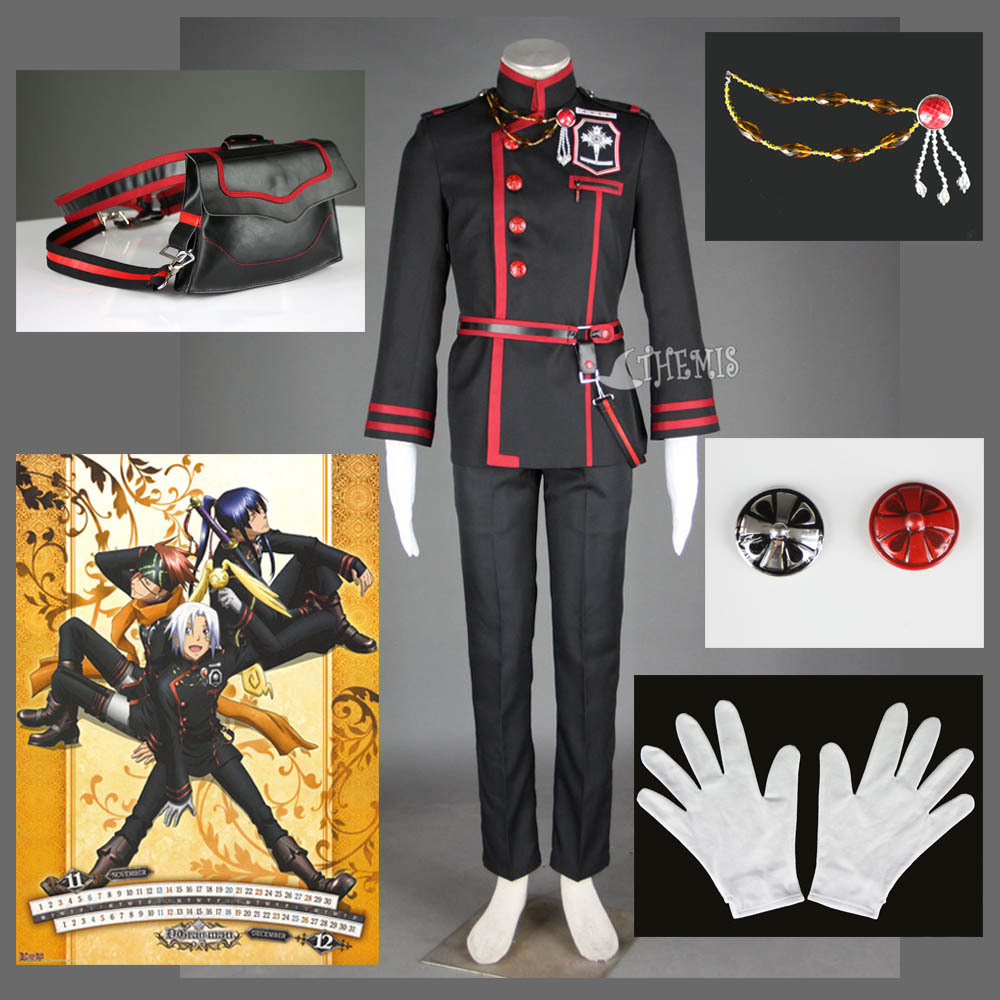 Athemis New D Gray man Allen Walker Cosplay Costume custom made Cool Black Man Suits waist
