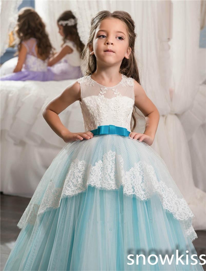 Cielo azul y blanco encaje Appliques backless vestidos de niña para ...