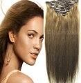 "16 "" - 32 "" pelo Remy virginal brasileño clip en extensiones de cabello humano cabeza completa 7 unids conjunto 70 g 80 g 100 g 120 g 140 g #10"