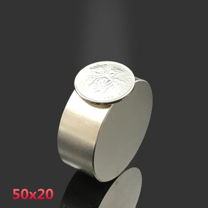 2 pièces N52 néodyme aimant 50x20mm gallium métal chaud super fort rond aimants 50*20 Neodimio aimant puissant aimants permanents