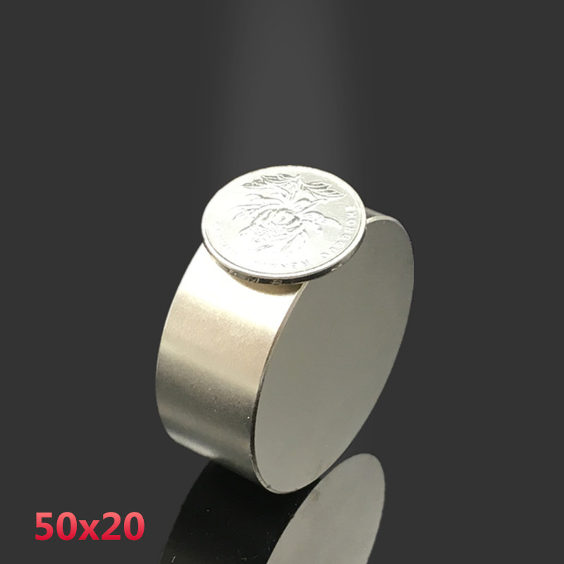 2pcs N52 Neodymium magnet 50x20 mm gallium metal hot super strong round magnets 50*20 Neodimio magnet powerful permanent magnets 50 30 1pc strong neodymium magnet n52 50mm x 30mm powerful neodimio super magnets imanes free shipping