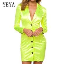 YEYA Women New Arrival Shirt Dress Summer Deep V-neck Casual Long Sleeve Button Blouse Mini Vacation Dresses Vestidos
