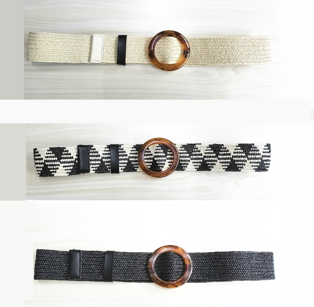 Vintage Knitted Beige   Belt   for Women Rope Waist Resin   Belt   Buckle Woven Female Elastic Braided Corset   Belt   Holographic Leather