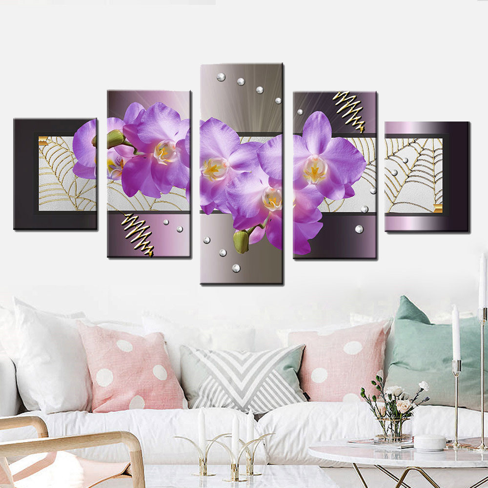 5 Pcs/set Fashionable Summary Flower Portray Purple Orchid Canvas Print Wall Artwork Floral Modular Image For Sitting Room Residence Decor