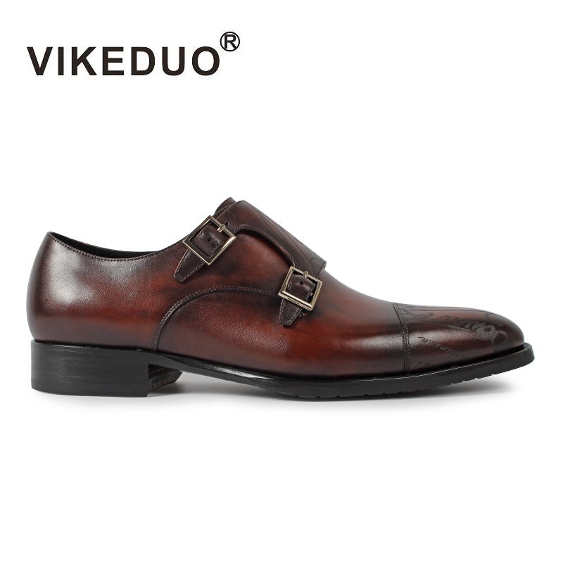 2018 Vikeduo Hot Vintage Men's Monk Shoes Custom Made Laser 100% Genuine Leather Luxury Wedding Party For Boss Original Design ensemble stars 2wink cospaly shoes anime boots custom made