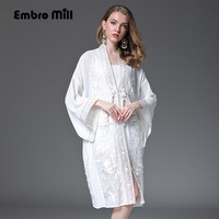 Women Embroidered Midi Summer Trench Coat Chinese Style Elegant Ladies Flowers Vintage Embroidery Loose Silk Coat