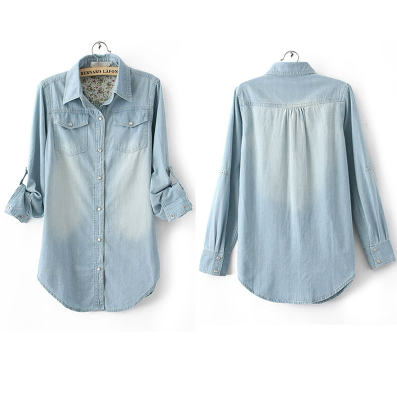 4174ec8c New Women's Basic NWT Jean Denim Chambray Lapel Long Sleeve Pocket Pearl  Buckle Tops Button Down Shirt Tees Blouses Shirts-in Blouses & Shirts from  Women's ...