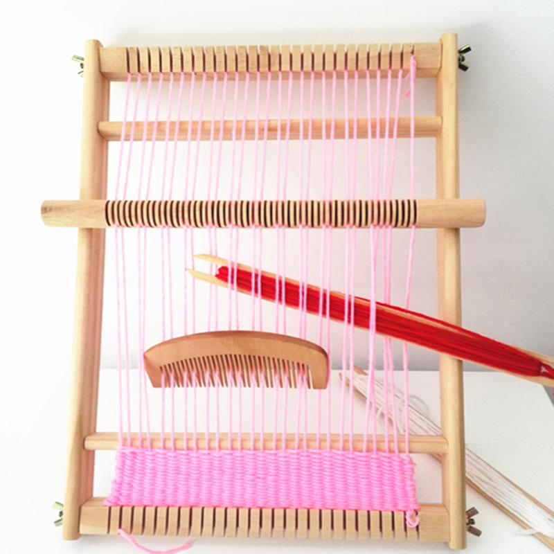 Traditional Weaving Loom Wooden Kids Adult Toy Craft Educational Tool Wood Weaving Frame Pixel Knitting Machine Christmas Gift