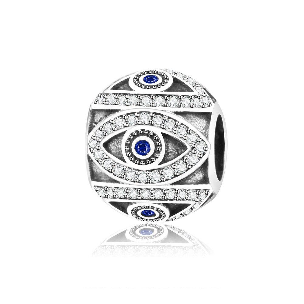100% 925 Sterling Silver Charm Bead Fit Original Pandora Charms Bracelet European Evil Eyes Jewelry DIY Fashion Berloque Making