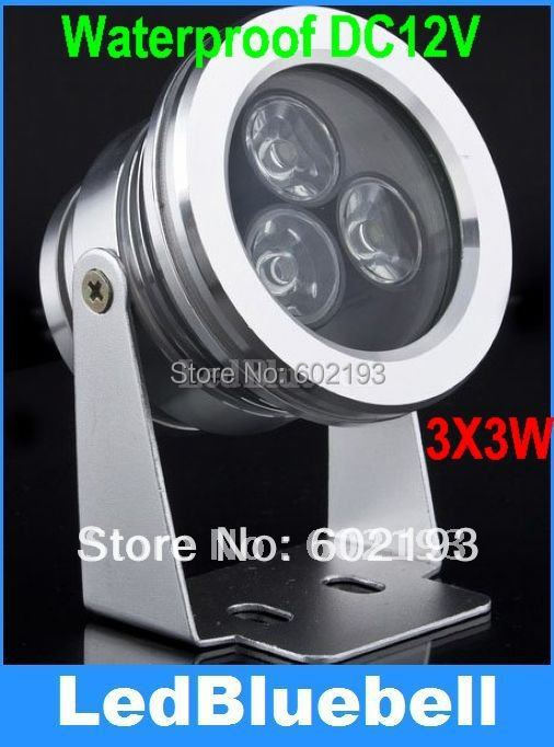 12V 3x3W LED Waterproof Floodlight Lamp, LED Underwater Light Outdoor Lighting