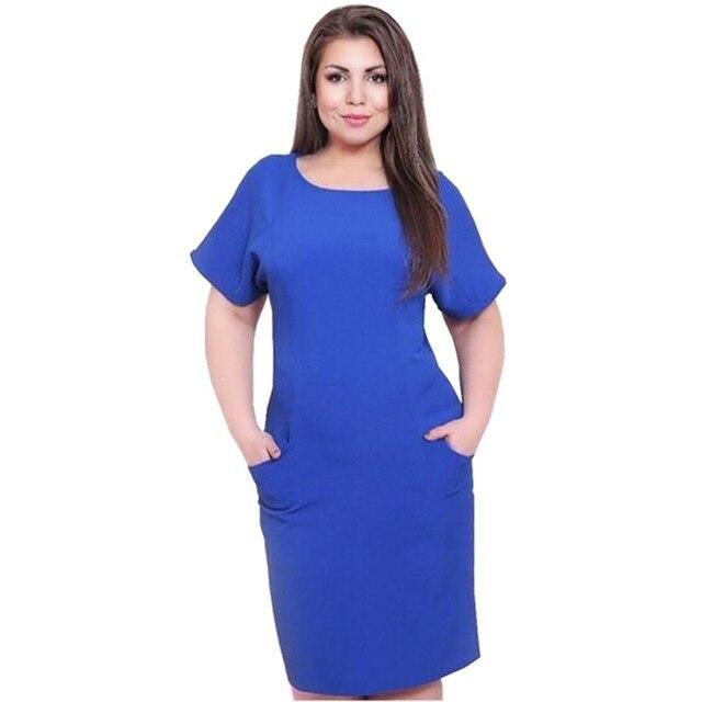 Women Summer Plus Size Midi Dress Vestidos Robe Solid Color Short