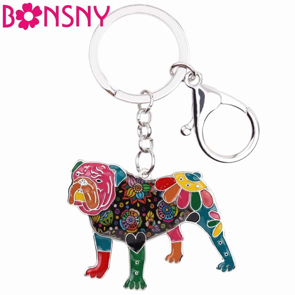 Bonsny Enamel English British Bulldog Bull Terrier Key Chain Keychains Ring Fashion Jewelry For Women Girls Gift Car Bag Pendant