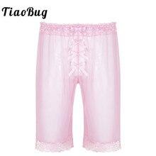 TiaoBug Mens Fashion Lingerie Sheer Soft Mesh Floral Lace Sissy Bowknot Light Loose Shorts Hot Pants Sexy Men Nightwear