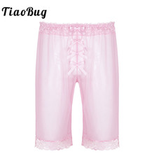 TiaoBug Mens Fashion Lingerie Sheer Soft Mesh Floral Lace Sissy Bowknot Light Loose Shorts Hot Pants Sexy Men Nightwear