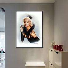 Canvas Wall art print abstract famous actress Marilyn Monroe oil painting Poster Pictures Frame Oil Painting for Room Decoration