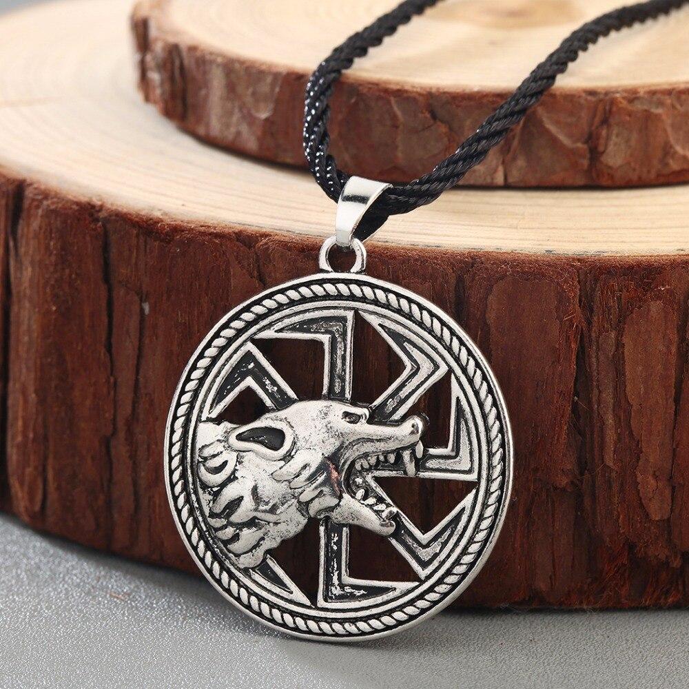 QIMING Harajuku Style Slavic Women Necklace Jewelry Amulet Wolf Totem Kolovrat Charm Vintage Amulets Men