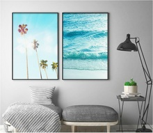 Nordic Palm Surf Scenery Canvas Art Posters Prints Painting Wall Pictures for Living Room Home Decor