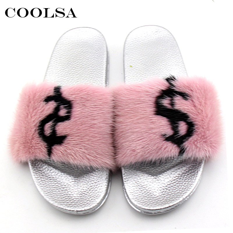 Coolsa Summer Women Mink Slippers Real Mink Fur Slides PVC Flat - Zapatos de mujer - foto 4