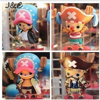 Hot 4PCS/Set One piece Chopper Red hair clown. White beard Roger Cute Action Figures Kid Gifts Toy