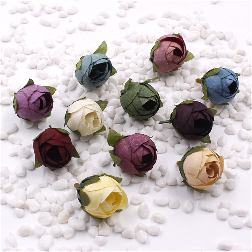 10 unids de Seda de Capullo de Rosa Flor Artificial Para la Decoración Del banqu